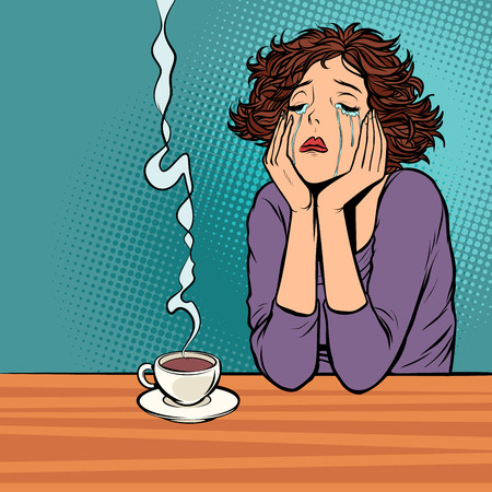 lonely unhappy woman. Cup of hot coffee Ilustracja