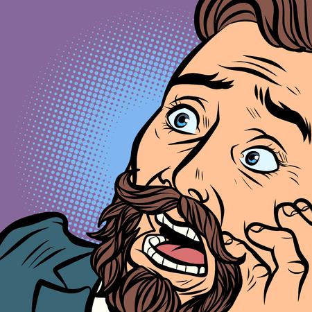 Homme hipster barbu effrayé, peur et horreur. gros plan du visage. Bande dessinée comique pop art retro vector illustration dessin à la main Vecteurs
