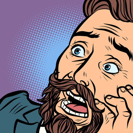 Scared bearded hipster man, fear and horror. face close-up. Comic cartoon pop art retro vector illustration hand drawing