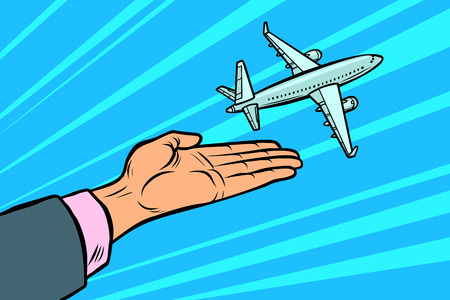 the plane takes off from his hands. flight travel tourism. Comic cartoon pop art illustration vintage vector drawing