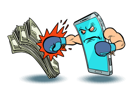 isolate on white background online payment wins cash. Internet banking. cryptocurrency. Comic cartoon pop art vector retro vintage drawing