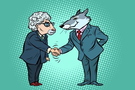 negociaciones comerciales de lobos y ovejas, amistad. Dibujo retro de la historieta del vector del arte pop de la historieta