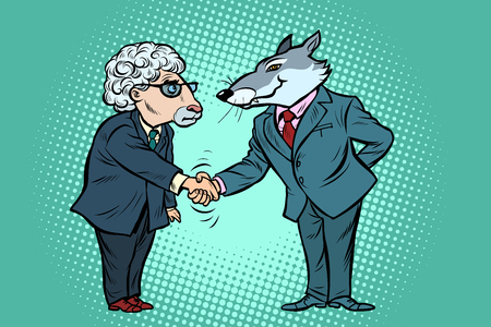 wolf and sheep business negotiations, friendship. Comic cartoon pop art vector retro vintage drawing
