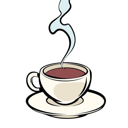Kubek gorącej kawy. Komiks kreskówka pop-art wektor retro vintage rysunek