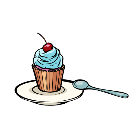 cupcake with a dessert spoon. Comic cartoon pop art vector retro vintage drawing