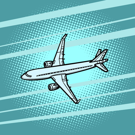 aircraft air transport blue background. Comic cartoon pop art vector retro vintage drawing
