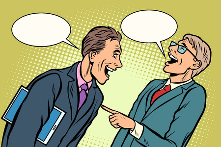 two businessmen meeting laughing. Comic cartoon pop art vector retro vintage drawing Ilustracja