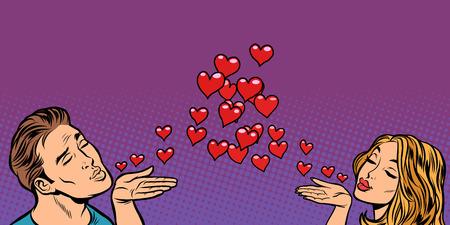 love couple kiss heart. Comic cartoon pop art vector retro vintage drawing Illustration