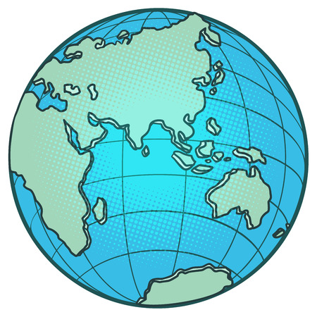 wereldbol oostelijk halfrond. Afrika Europa Azië Australië. Strip cartoon pop-art vector retro vintage tekening