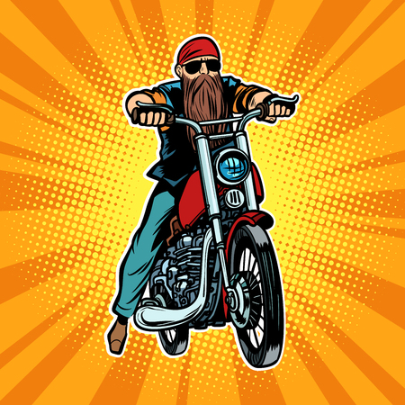 Biker bearded man on a motorcycle. Comic cartoon pop art vector retro vintage drawing