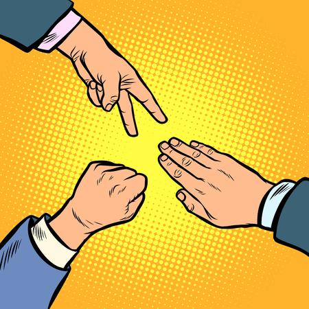 El juego de piedra, papel y tijeras es un gesto con la mano. Dibujo vectorial de la vendimia de la historieta cómica del arte pop Ilustración de vector