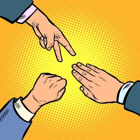 Le jeu de ciseaux en papier rock est un geste de la main. Bande dessinée comique pop art illustration vintage dessin vectoriel Vecteurs