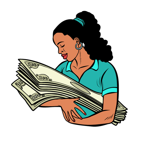 african woman loves money. Bank lottery win. isolate on white background Comic cartoon pop art vector retro vintage drawing