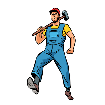 working with hammer employee specialist worker isolate on white background. Comic cartoon pop art vector retro vintage drawing