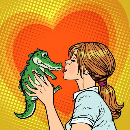 la mamma bacia il coccodrillo, il concetto di bambino cattivo. Disegno vintage retrò di vettore di pop art fumetto comico