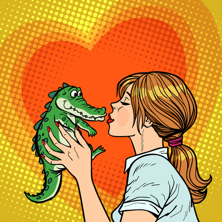 maman embrasse crocodile, concept de bébé coquin. dessin animé comique, pop art, vecteur, retro, vendange, dessin
