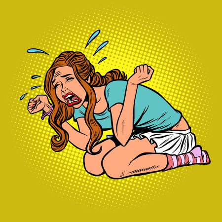 woman crying hysterical, panic stress. Comic cartoon pop art retro vector illustration drawing