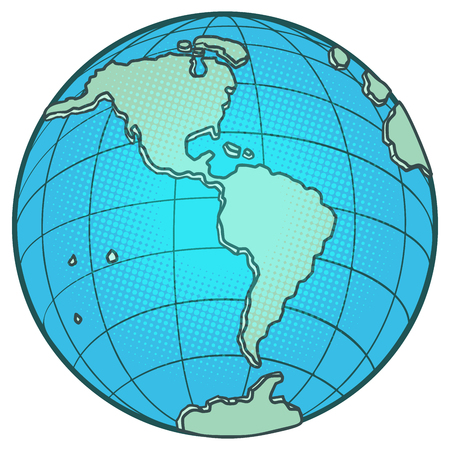 globe North and South America. Comic cartoon pop art vector retro vintage drawing Ilustracja
