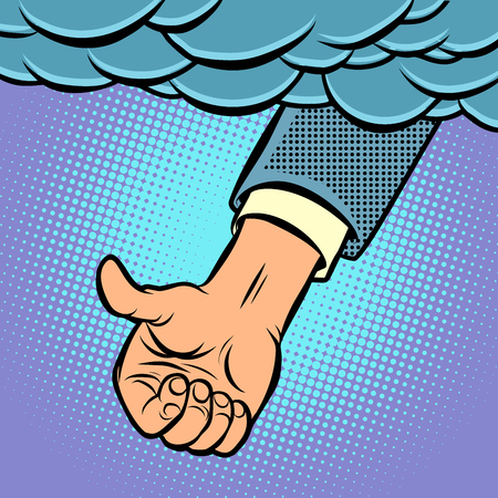 like a hand from heaven. Comic cartoon pop art illustration vintage vector drawing Ilustração