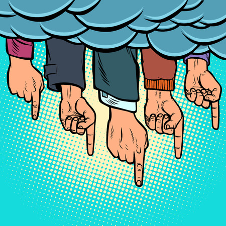 many hands pointing out from the clouds. Comic cartoon pop art illustration vintage vector drawing