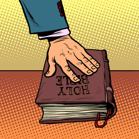 swearing on the Bible. court and religion Stock Illustratie