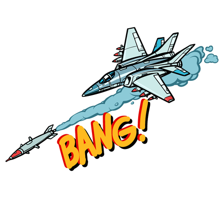 militaire vliegtuigen aangevallen door raket, leger luchtmacht isoleren op witte achtergrond. Strip cartoon pop-art vector retro vintage tekening