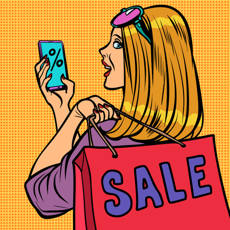 woman buyer online shopping sale. Comic cartoon pop art illustration vintage vector drawing