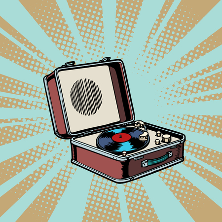 retro vinyl record player. pop art background Comic cartoon vector retro vintage drawing