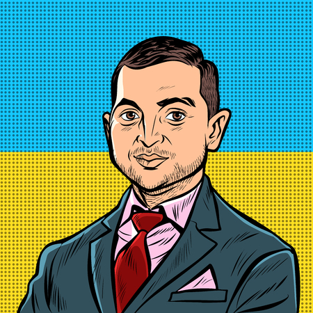 Kyiv, Ukraine - April 11, 2019. Portrait of the presidential candidate of Ukraine Vladimir Zelensky. Actor comedian leader Kvartal 95. national yellow blue flag. Pop art retro illustration 向量圖像