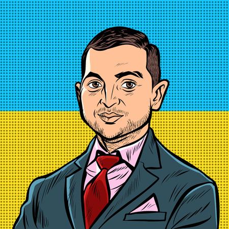 Kyiv, Ukraine - April 11, 2019. Portrait of the presidential candidate of Ukraine Vladimir Zelensky. Actor comedian leader Kvartal 95. national yellow blue flag. Pop art retro illustration Illustration