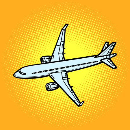 aircraft air transport yellow background. Comic cartoon pop art vector retro vintage drawing