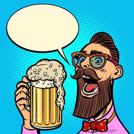 hipster drinking a mug of beer Ilustração