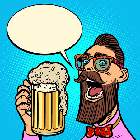 hipster drinking a mug of beer Ilustracja