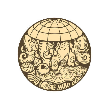 disc planet earth rests on an elephant, and a turtle Ilustracja