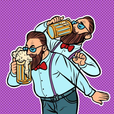 Hipster trinkt einen Krug Bier