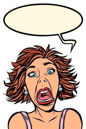 Funny woman screams, strange facial expressions Imagens - 124949741