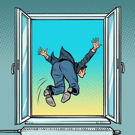 Bankruptcy and financial crisis. Suicide businessman jumps out the window