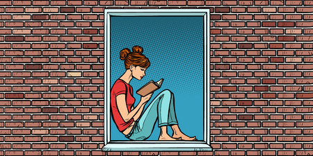Teen girl reading a book, sitting in the window Ilustracja