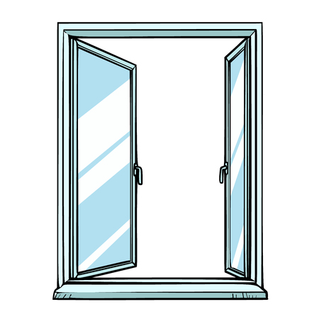 open window, template view Illustration
