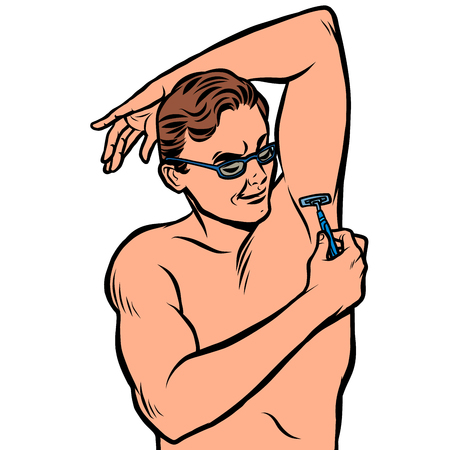 a man shaves his armpit with a razor. isolate on white background Ilustração