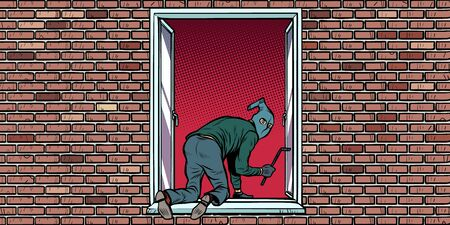 the thief is a burglar climbs in the window