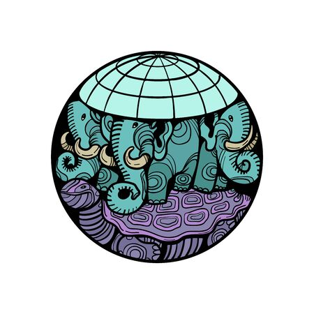 disc planet earth rests on an elephant, and a turtle Ilustração