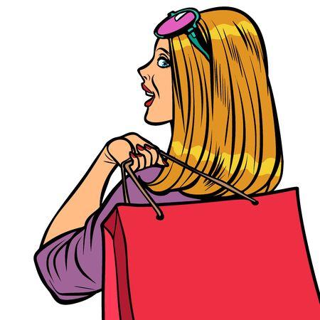 woman Shopaholic sale  イラスト・ベクター素材