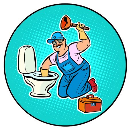 plumber cleans the toilet. Pop art retro vector illustration drawing
