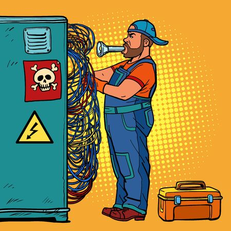 electrician technician repairs wires Ilustracja