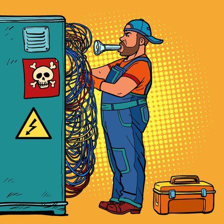elektricien technicus repareert draden