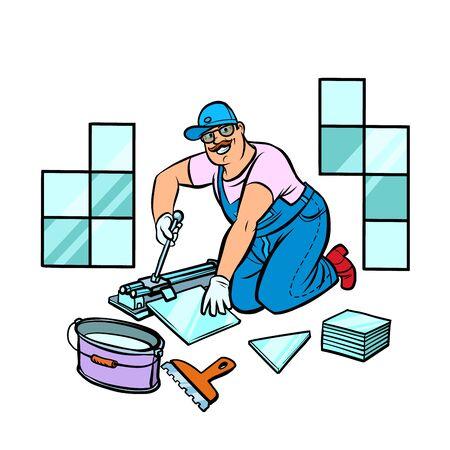 professionele werknemer die tegels legt, reparatiewerkzaamheden; Vector Illustratie