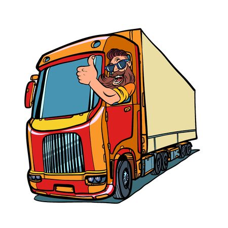 conductor de camión. hombre con barba pulgares arriba Ilustración de vector