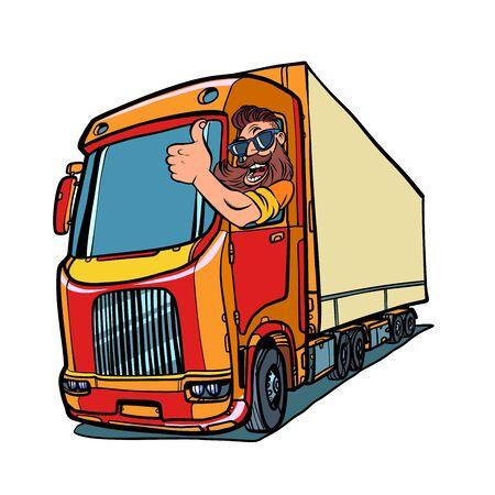 LKW Fahrer. Mann mit Bart Daumen hoch Vektorgrafik