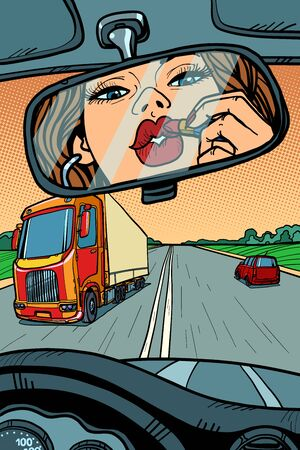 driver woman paints lips with lipstick. attention on the road Ilustração